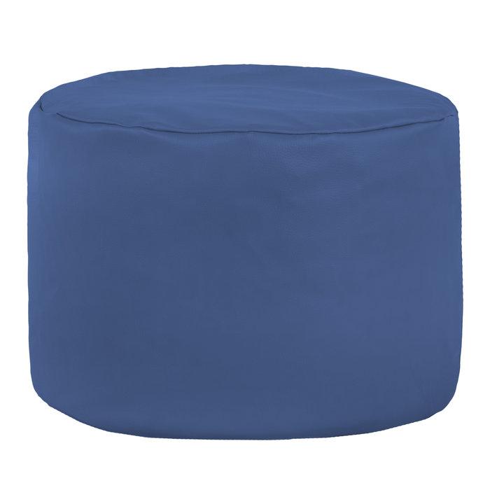 Pouf da soggiorno moderno e classico. Pouf poggiapiedi cilindro blu