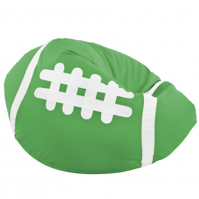 Verde Pouf Pallone Rugby Ecopelle Comodo