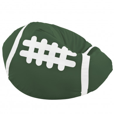 Verde Scuro Pouf Pallone Rugby Ecopelle Grande