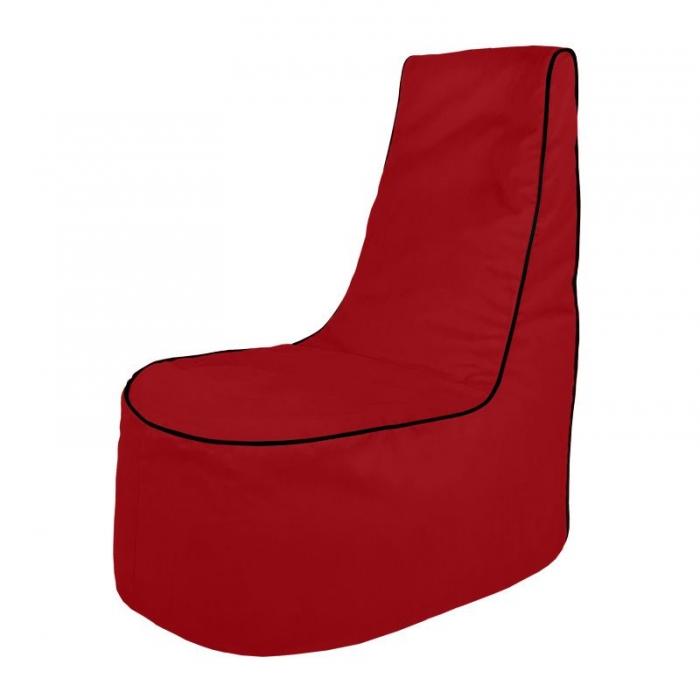 Poltrona pouf morbida rossa da soggiorno. Pouf comodo schienale comodo