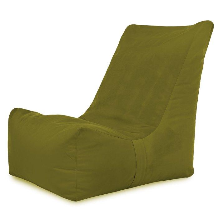 Pouf verde da soggiorno e camera da letto. Pouf con schienale comodo
